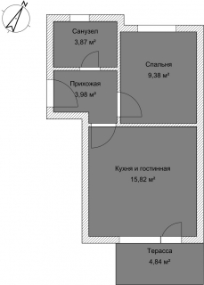 Апартаменты А 2-1 План помещения AntiquePalace