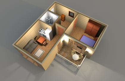 Апартамент Б 3-1 3D вид AntiquePalace